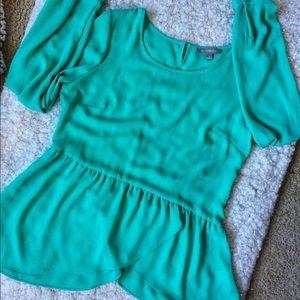 NY Collection Peplum Turquoise Blouse Size Medium